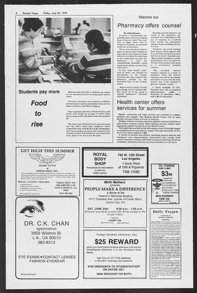 Summer Trojan, Vol. 74, No. 4, June 23, 1978