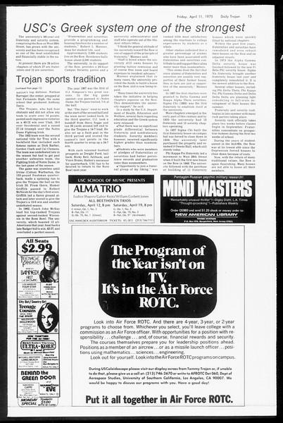 Daily Trojan, Vol. 67, No. 105, April 11, 1975