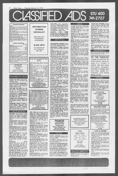 Daily Trojan, Vol. 73, No. 8, February 16, 1978