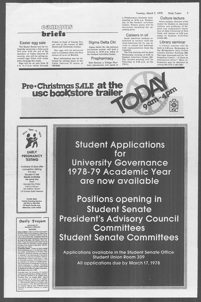 Daily Trojan, Vol. 73, No. 19, March 07, 1978