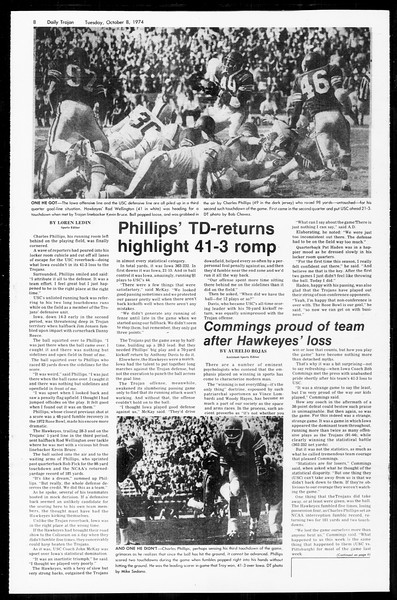 Daily Trojan, Vol. 67, No. 17, October 08, 1974