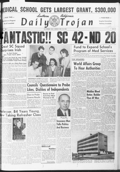 Daily Trojan, Vol. 47, No. 49, November 28, 1955