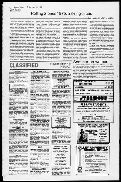 Summer Trojan, Vol. 68, No. 11, July 25, 1975