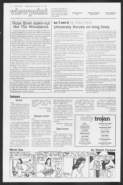 Daily Trojan, Vol. 75, No. 44, November 29, 1978