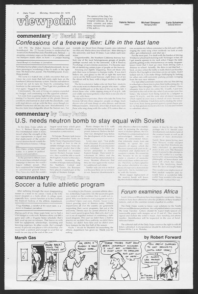Daily Trojan, Vol. 75, No. 41, November 20, 1978