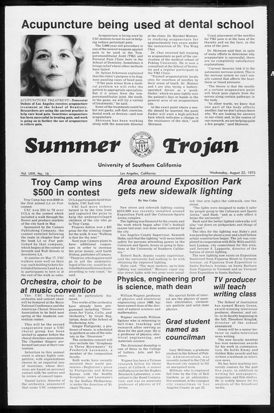 Summer Trojan, Vol. 66, No. 16, August 22, 1973