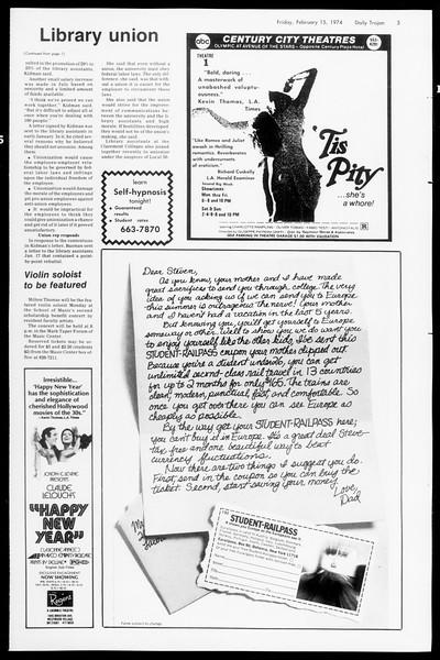 Daily Trojan, Vol. 66, No. 73, February 15, 1974