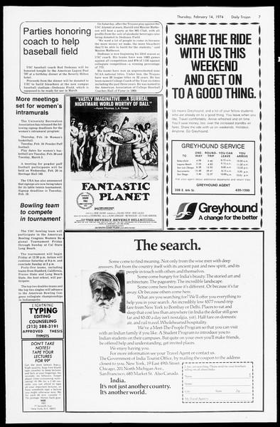 Daily Trojan, Vol. 66, No. 72, February 14, 1974