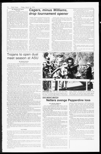 Daily Trojan, Vol. 67, No. 92, March 14, 1975