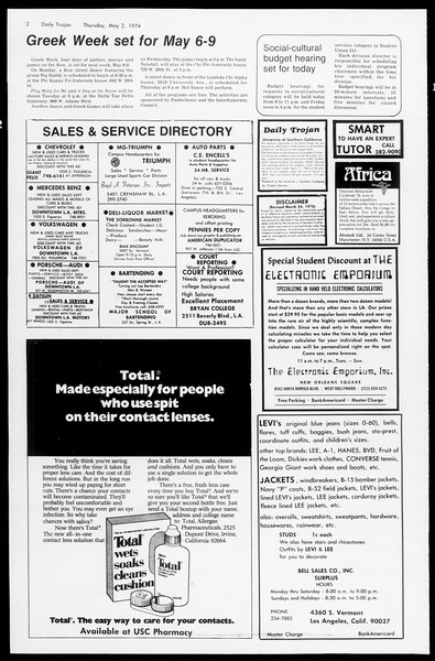 Daily Trojan, Vol. 66, No. 118, May 02, 1974