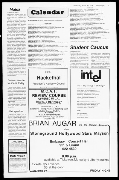 Daily Trojan, Vol. 66, No. 94, March 20, 1974