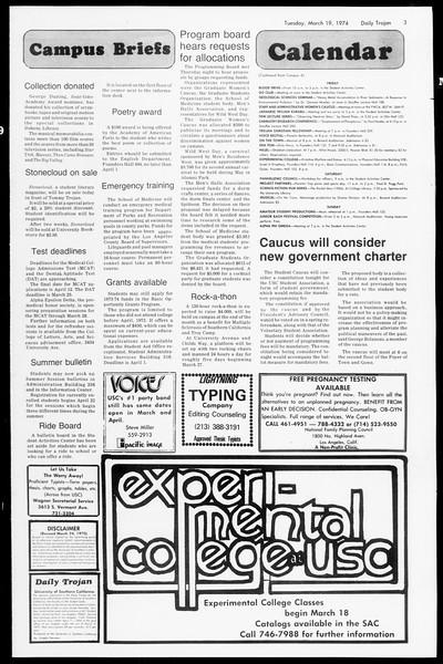 Daily Trojan, Vol. 66, No. 93, March 19, 1974