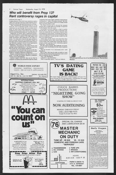Summer Trojan, Vol. 74, No. 16, August 16, 1978