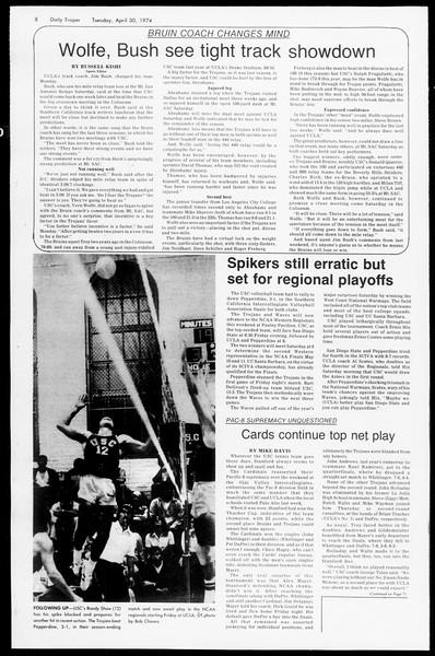 Daily Trojan, Vol. 66, No. 116, April 30, 1974