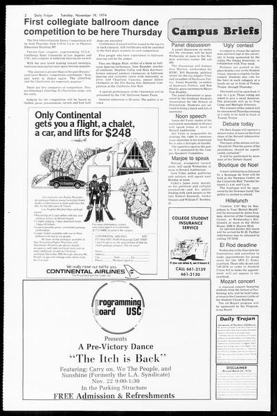 Daily Trojan, Vol. 67, No. 44, November 19, 1974