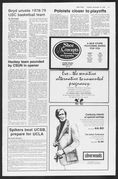 Daily Trojan, Vol. 75, No. 37, November 14, 1978