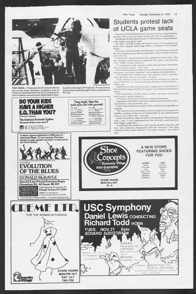Daily Trojan, Vol. 75, No. 42, November 21, 1978