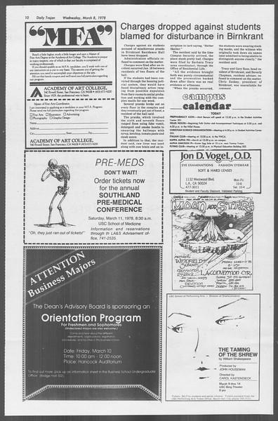 Daily Trojan, Vol. 73, No. 20, March 08, 1978