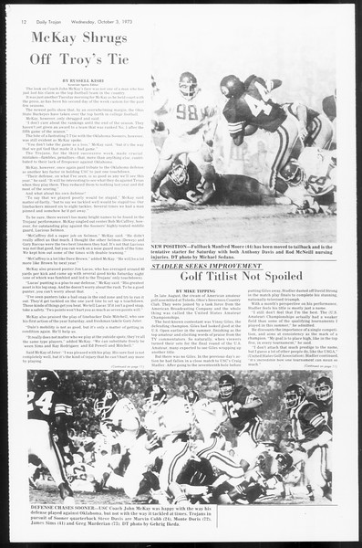 Daily Trojan, Vol. 66, No. 13, October 03, 1973