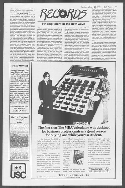Daily Trojan, Vol. 73, No. 11, February 23, 1978