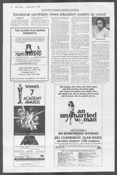 Daily Trojan, Vol. 73, No. 35, April 07, 1978
