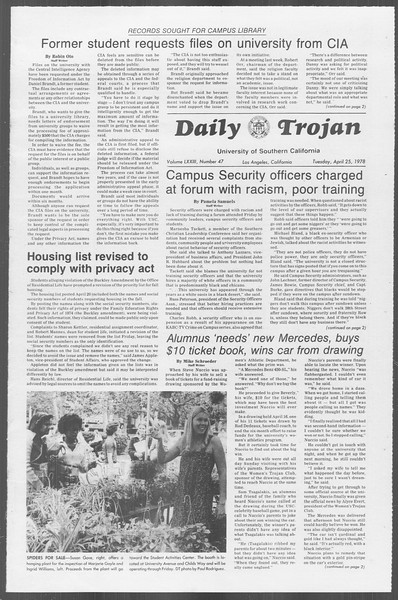 Daily Trojan, Vol. 73, No. 47, April 25, 1978