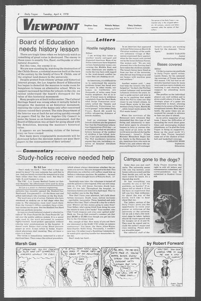 Daily Trojan, Vol. 73, No. 32, April 04, 1978