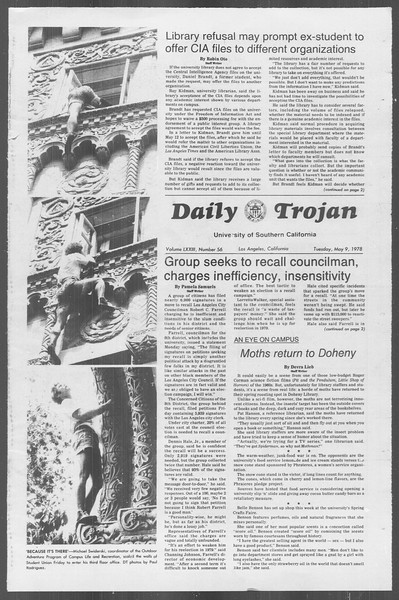 Daily Trojan, Vol. 73, No. 56, May 09, 1978