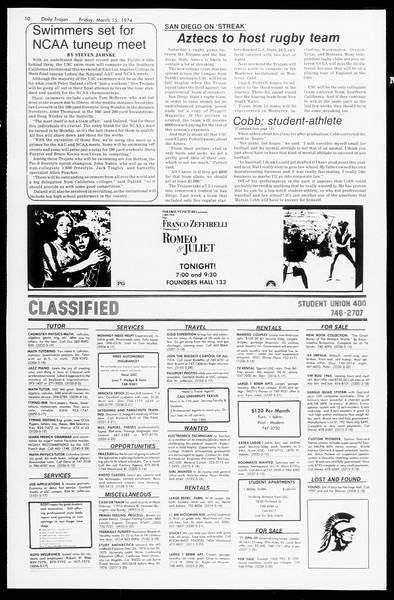 Daily Trojan, Vol. 66, No. 91, March 15, 1974