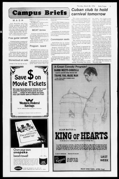 Daily Trojan, Vol. 66, No. 100, March 28, 1974