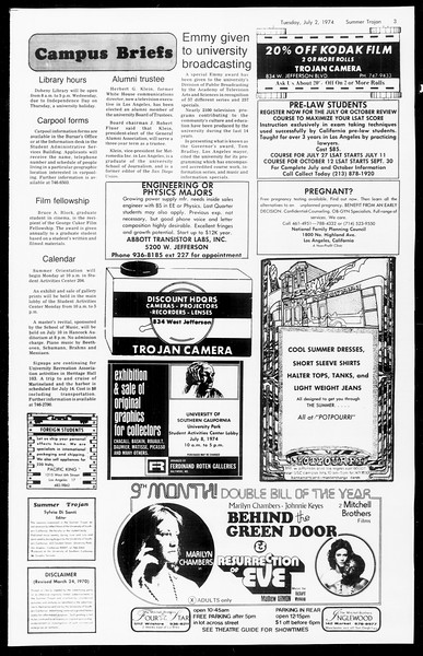 Summer Trojan, Vol. 67, No. 5, July 02, 1974