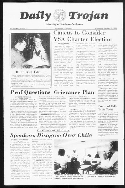 Daily Trojan, Vol. 66, No. 17, October 10, 1973