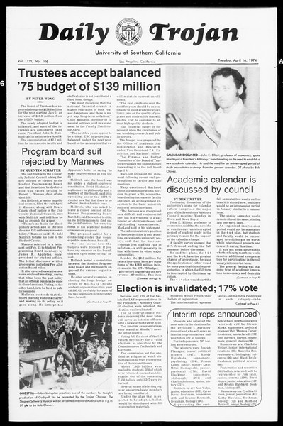 Daily Trojan, Vol. 66, No. 106, April 16, 1974