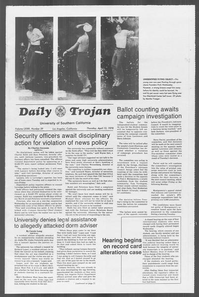 Daily Trojan, Vol. 73, No. 39, April 13, 1978