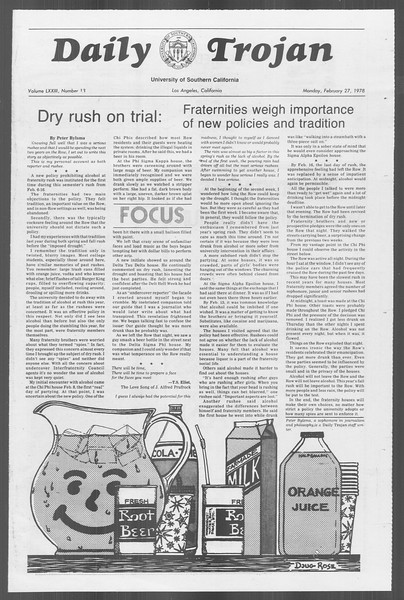 Daily Trojan, Vol. 73, No. 13, February 27, 1978