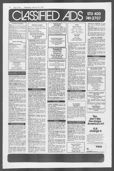 Daily Trojan, Vol. 73, No. 10, February 22, 1978