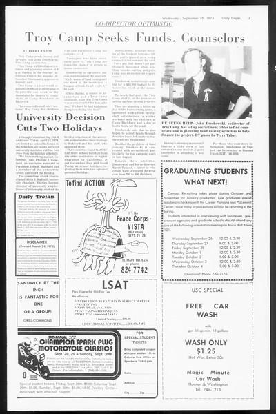 Daily Trojan, Vol. 66, No. 8, September 26, 1973