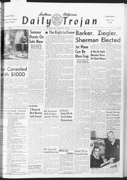 Daily Trojan, Vol. 47, No. 17, October 10, 1955