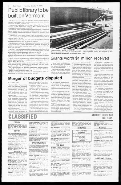 Daily Trojan, Vol. 67, No. 12, October 01, 1974