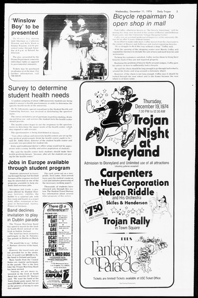 Daily Trojan, Vol. 67, No. 56, December 11, 1974