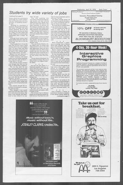 Daily Trojan, Vol. 73, No. 43, April 19, 1978