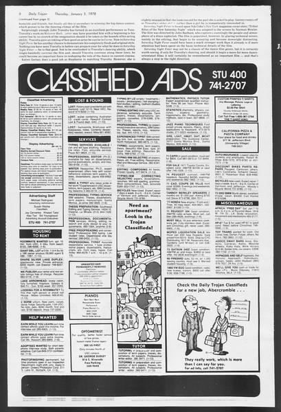 Daily Trojan, Vol. 72, No. 59, January 05, 1978