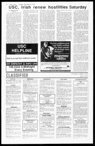 Daily Trojan, Vol. 67, No. 49, November 26, 1974
