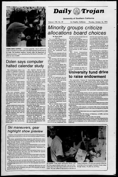 Daily Trojan, Vol. 68, No. 22, October 16, 1975