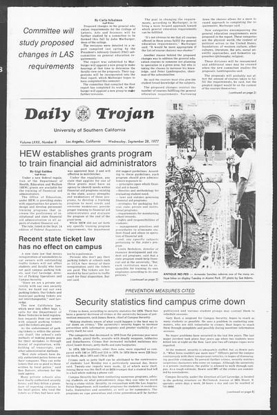 Daily Trojan, Vol. 72, No. 8, September 28, 1977