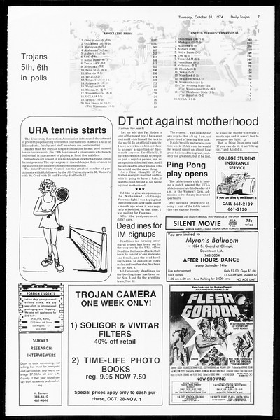 Daily Trojan, Vol. 67, No. 33, October 31, 1974