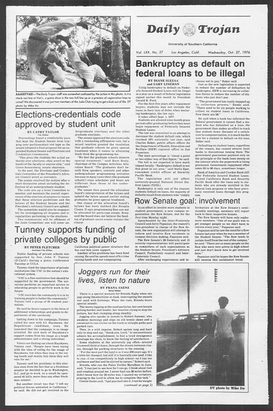 Daily Trojan, Vol. 70, No. 27, October 27, 1976