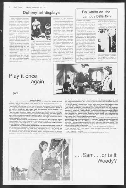 Daily Trojan, Vol. 72, No. 46, November 29, 1977