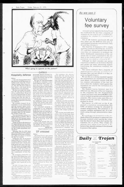 Daily Trojan, Vol. 67, No. 77, February 21, 1975