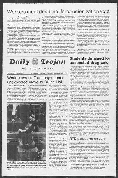Daily Trojan, Vol. 70, No. 7, September 28, 1976